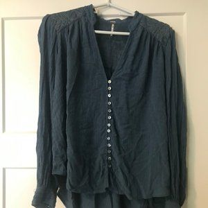 Free People Teal Long Sleeve Shirt - Adult Small